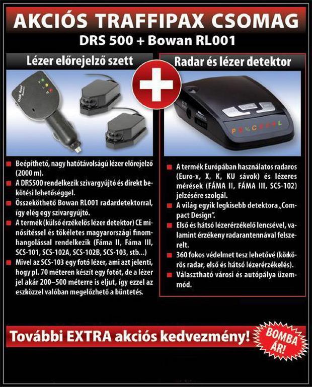 Radardetektor, l�zerblokkol� akci�